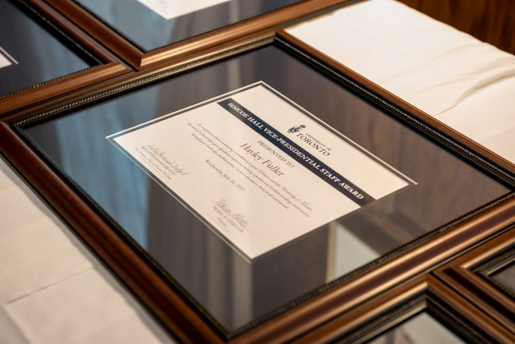 Hayley Fuller's framed Simcoe Hall Vice-President's Award certificate