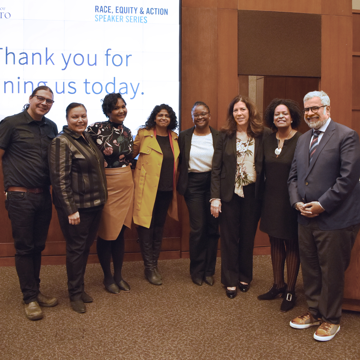Michael White (Office of Indigenous Initiatives), Saimah Baig (ARCDO), Nikki Samuel (ARCDO), Karima Hashmani (Equity, Diversity & Inclusion), Jodie Glean-Mitchell (ARCDO), Kelly Hannah-Moffat (VP, HR & E), Dr. Lisa Coleman, and Nouman Ashraf (Rotman) pose for a photo