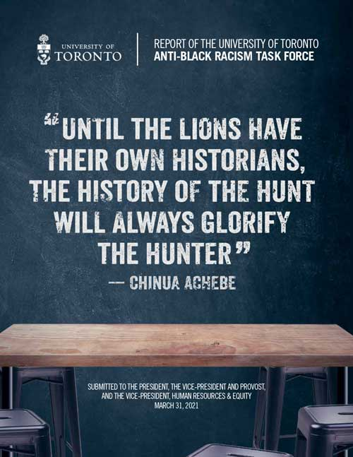 the cover of the report which reads: until the lions have their own historians, the history of the hunt will always glorify the hunter