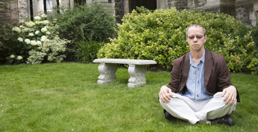 Terry Lavender meditating at U of T