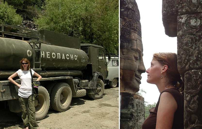 Michelle Deetoon at a roadside cafe in Tajikistan and in Angkor Way, Cambodia