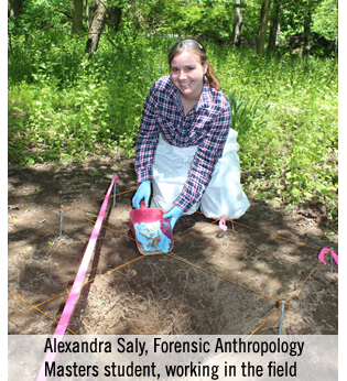 Alexandra Saly, Forensic Anthopology graduate student, working in the field