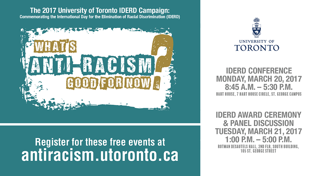 IDERD Conference, Monday, March 20 at Hart House