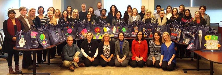 HR & Equity staff who decorated care bags for Ronald McDonald House