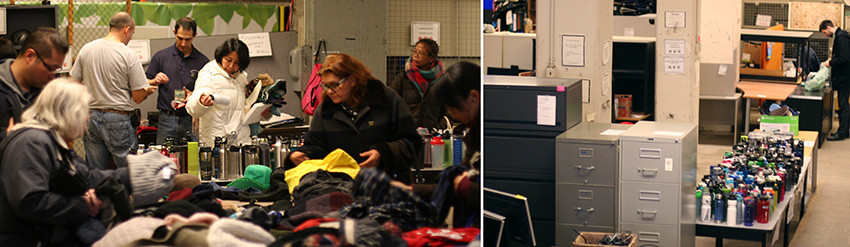 Buyers go through second-hand clothing and office furniture at U of T's Annual Swap Shop Sale