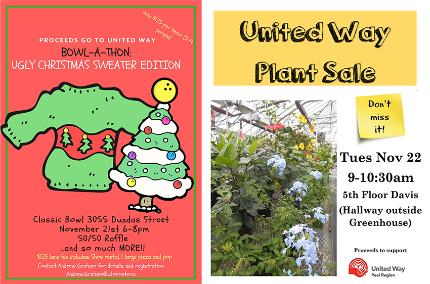 Bowl-a-thon and United Way Plant Sale posters from the University of Mississauga (UTM)