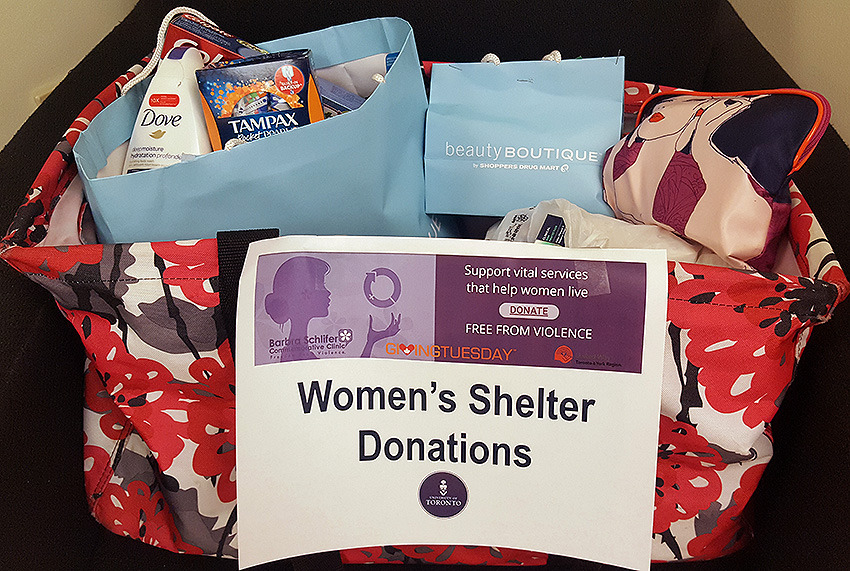 Bag of donated toiletries for women's shelters and the Barbra Schlifer Clinic