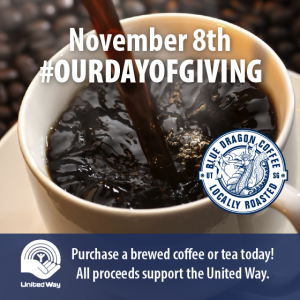Advertisement depicting coffee cup, labelled November 8th #ourdayofgiving